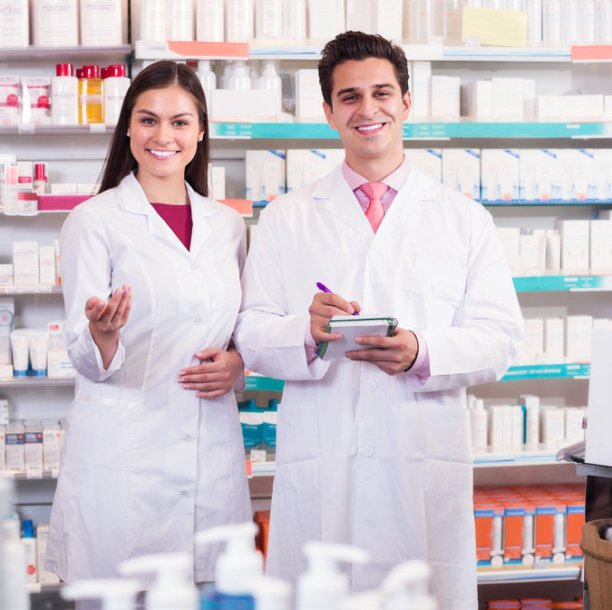 Positive pharmacist and pharmacy technician